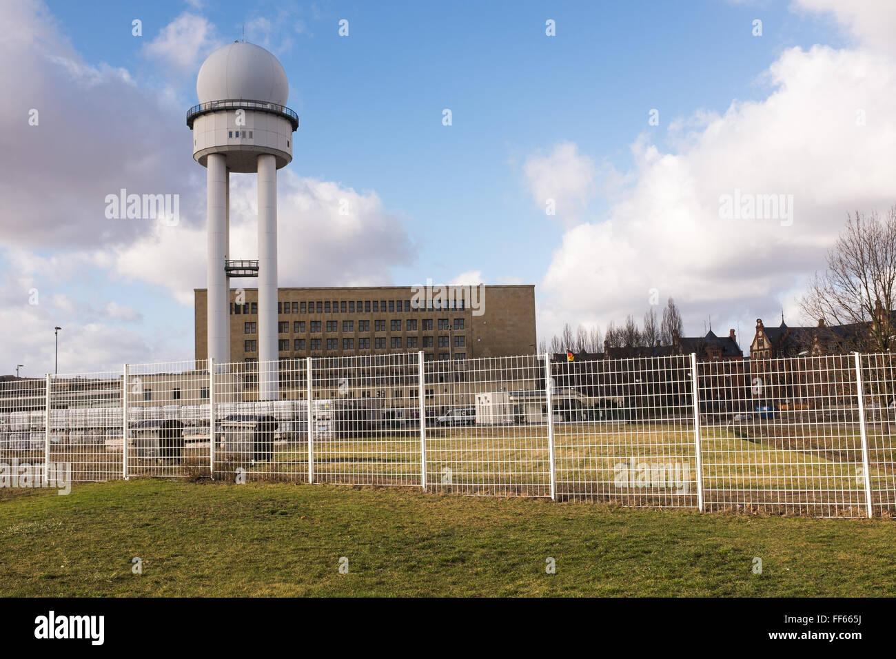 BERLIN, JANUARY 28: The 'Flughafen Berlin-Tempelhof' (german for 'Berlin Tempelhof Airport' on January - Stock Image