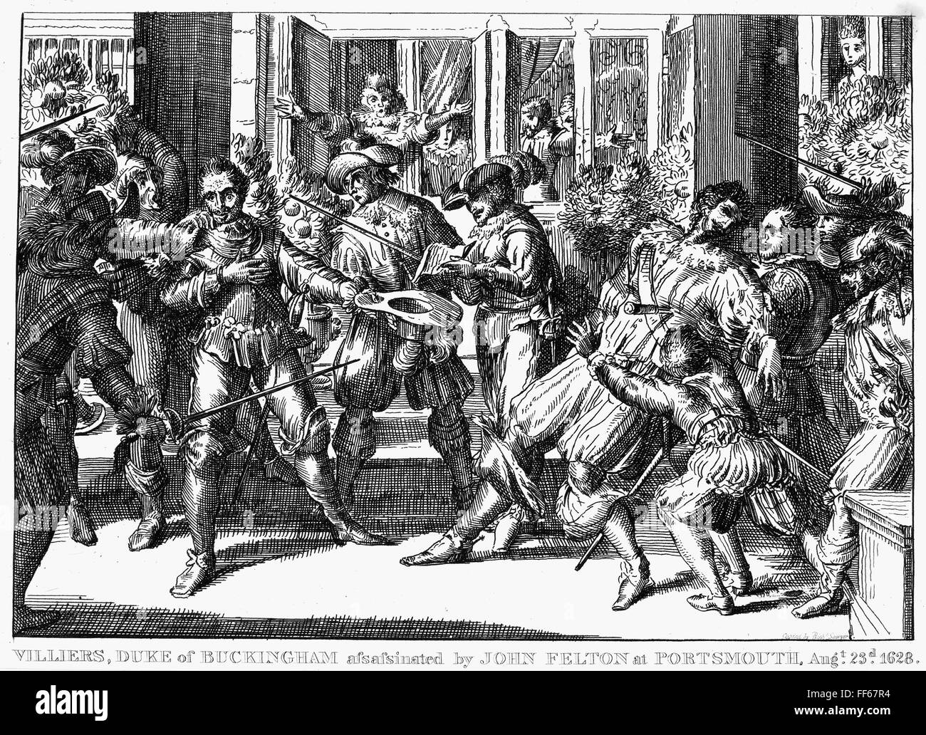GEORGE VILLIERS (1592-1628). /n1st Duke of Buckingham. English courtier and  politician. The assassination of Villiers, 23 August 1628, by John Felton,  ...