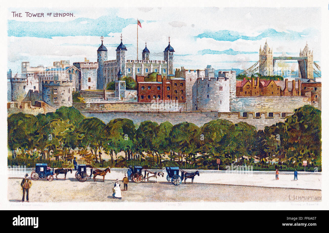 Edwardian postcard of the Tower Of London and Tower Bridge. - Stock Image