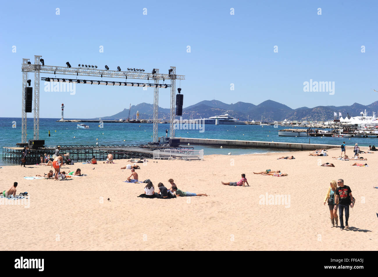 2012 - Cannes  Beach in Cannes. - Stock Image
