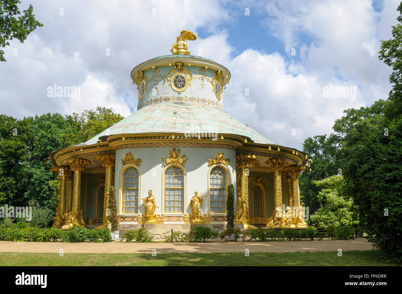 The Chinese House/Chinesisches Haus, pavilion in the Sanssouci Park, Potsdam, Brandenburg, Germany - Stock Image