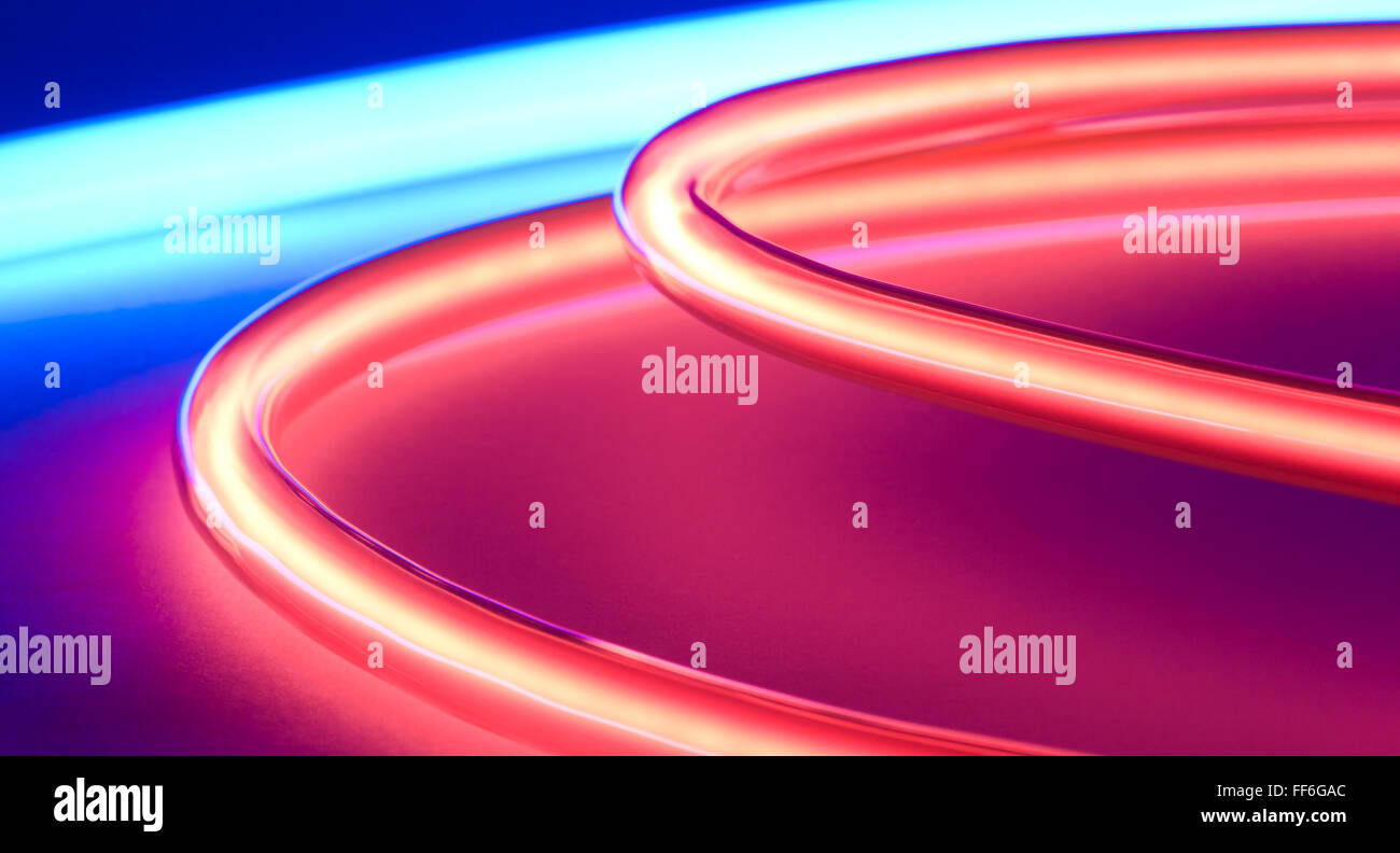 Abstract Blue Red Neon Lights Background Stock Photo