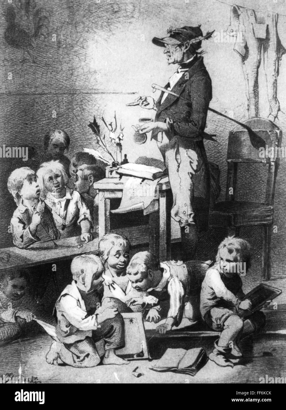 pedagogy, school / lessons / discipline, 'Der terminus technicus' (The Technical Term), lithograph, out - Stock Image
