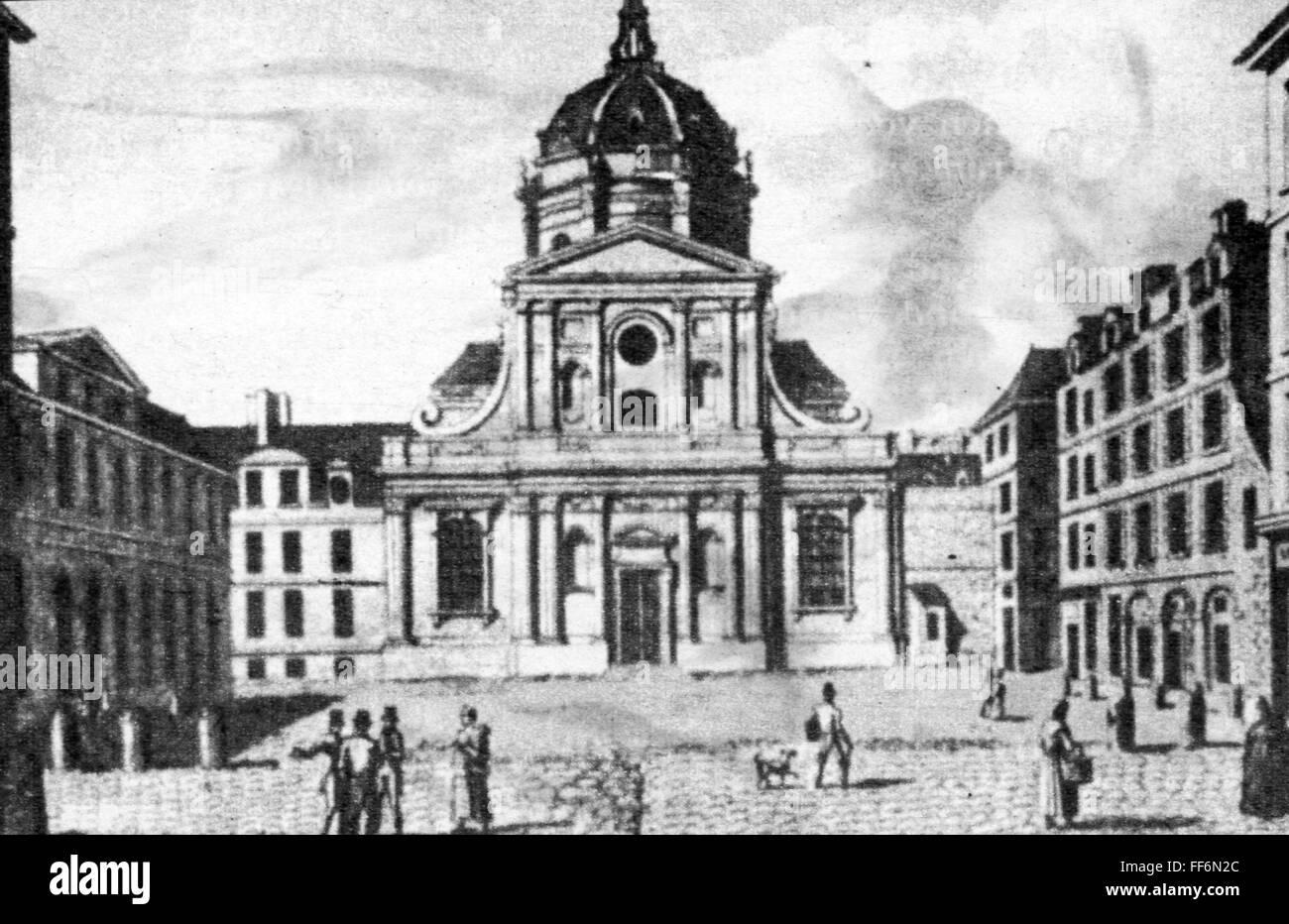 geography / travel, France, Paris, buildings, university, exterior view, Sainte Ursule chapel, engraving, 19th century, - Stock Image