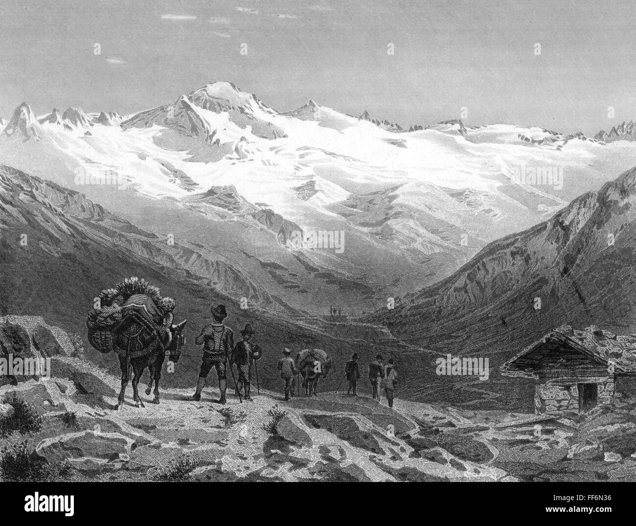 geography / travel, Austria, mounts, Elend Glacier in Malta Valley, Carinthia, steel engraving by C. Rorisch and - Stock Image