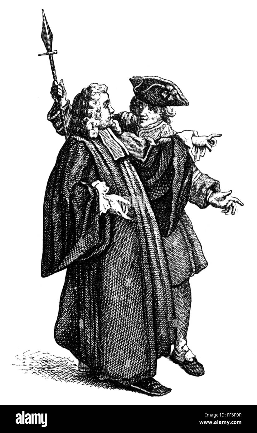 police, commissar and sergeant of the night watch, after copper engraving by Etienne Jeaurat (1699 - 1789), 18th - Stock Image