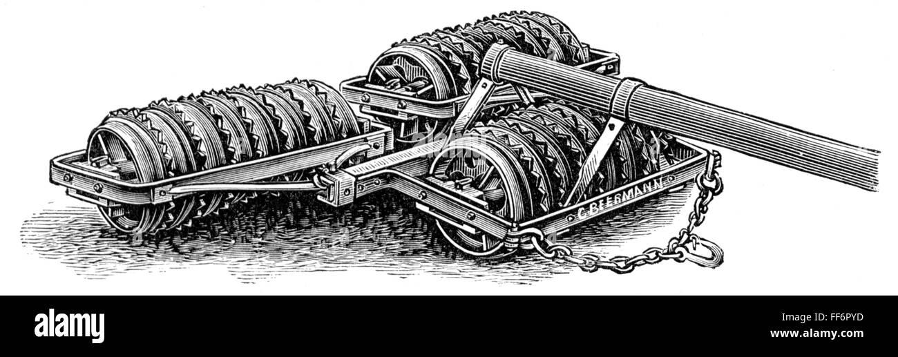 agriculture, tools, spiked roller, wood engraving, from: 'Buch der Erfindungen, Gewerbe und Industrien, Otto - Stock Image