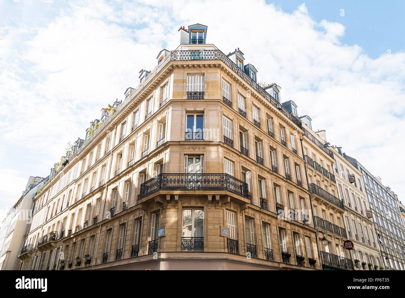 PARIS MAY 07, 2015: French architecture with apartment building looking upward at the Paris Le Marais quarter - Stock Image
