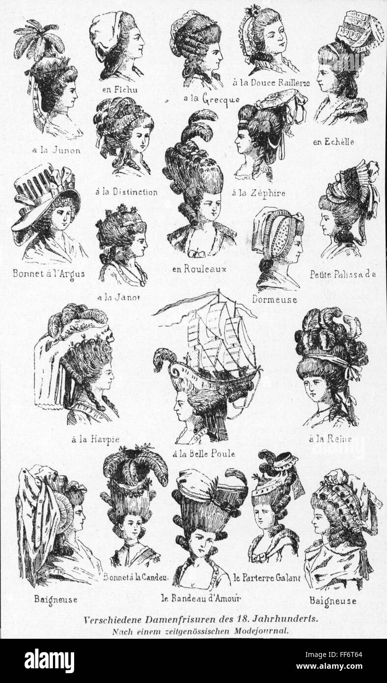 Fashion 18th Century Different Ladies Hairstyles From A Fashion