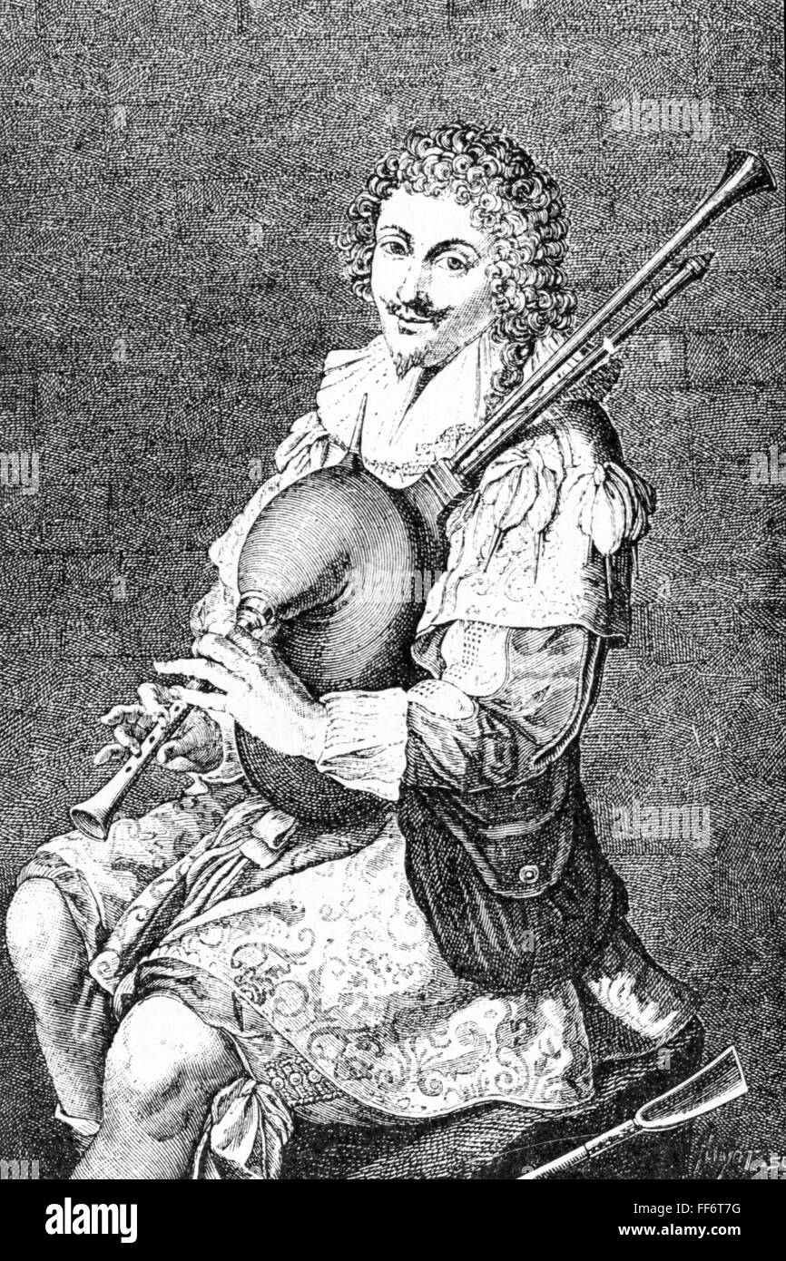 music, musician, bagpiper, cavalier in shepherd's costume with bagpipes, after copper engraving by Leblond, - Stock Image