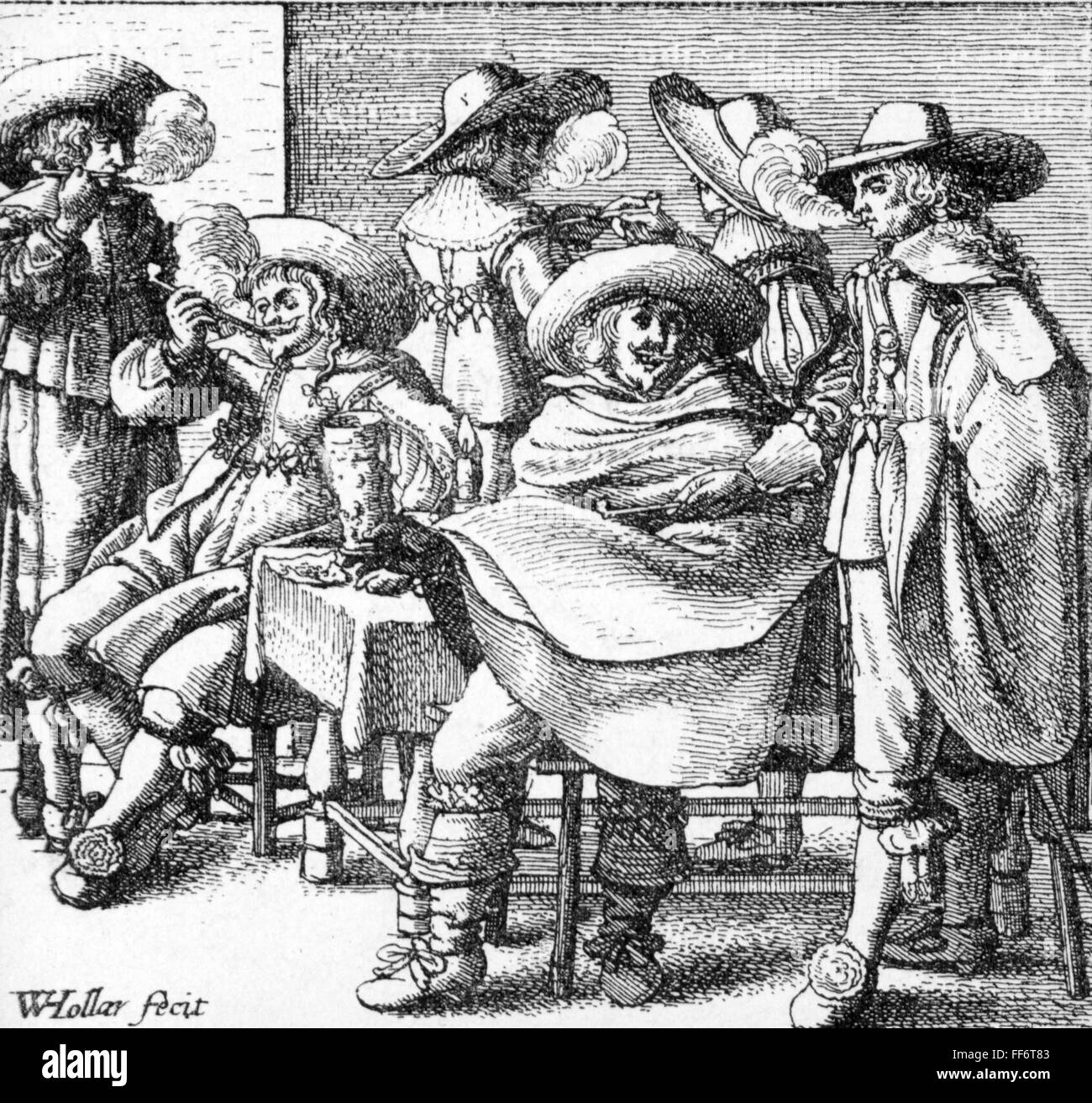 fashion, 17th century, six men, etching by Wenceslaus Hollar (1607 - 1677), 17th century, 17th century, graphic, - Stock Image