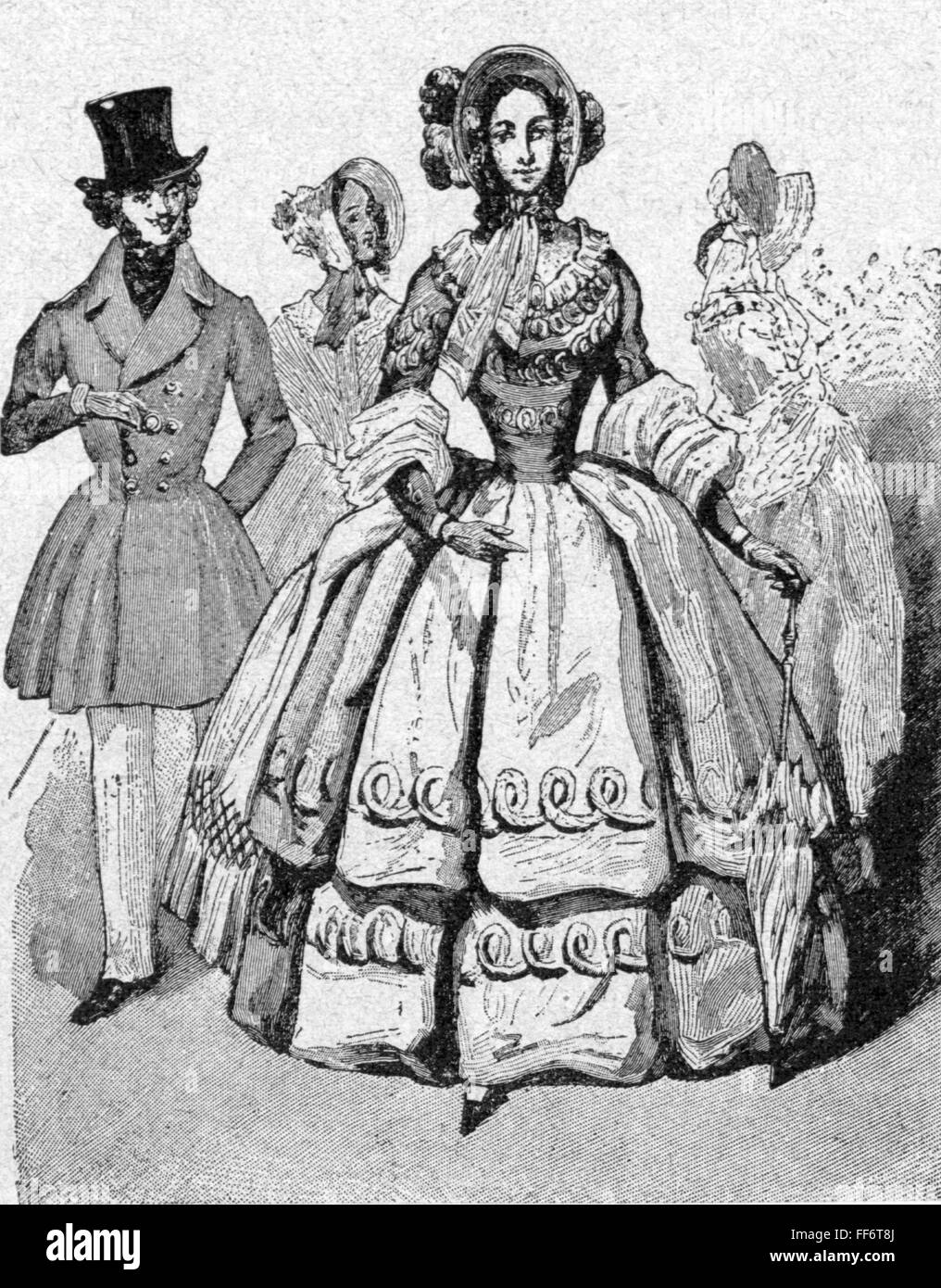 fashion, 19th century, commoner woman in dress with corset, wood engraving, fashion magazine, 1832, Additional-Rights - Stock Image