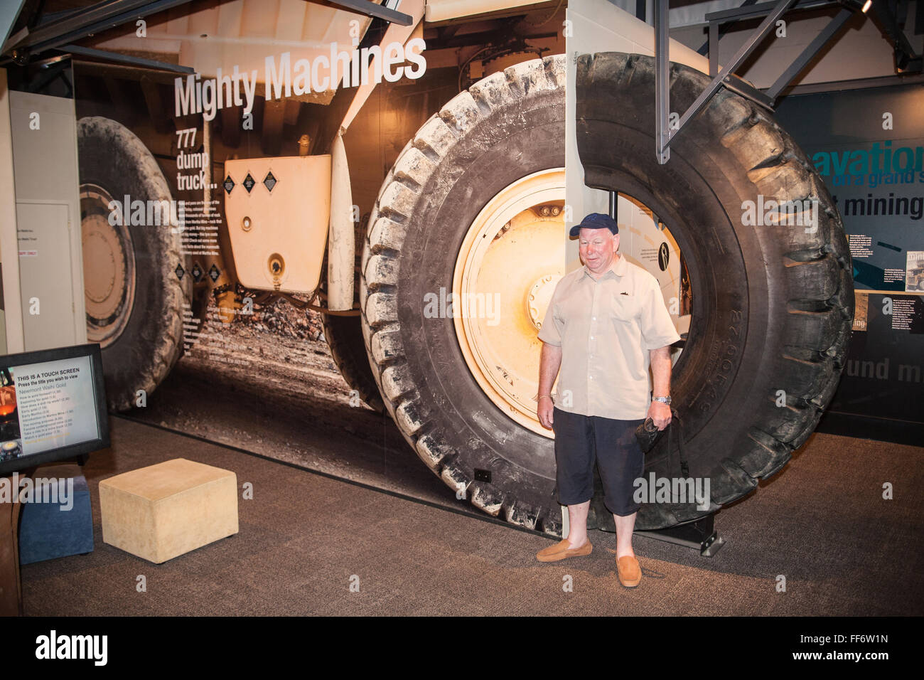 Huge truck tyres,wheels at museum in gold mining town of Waihi,Coromandel Peninsula,North Island, New Zealand Stock Photo