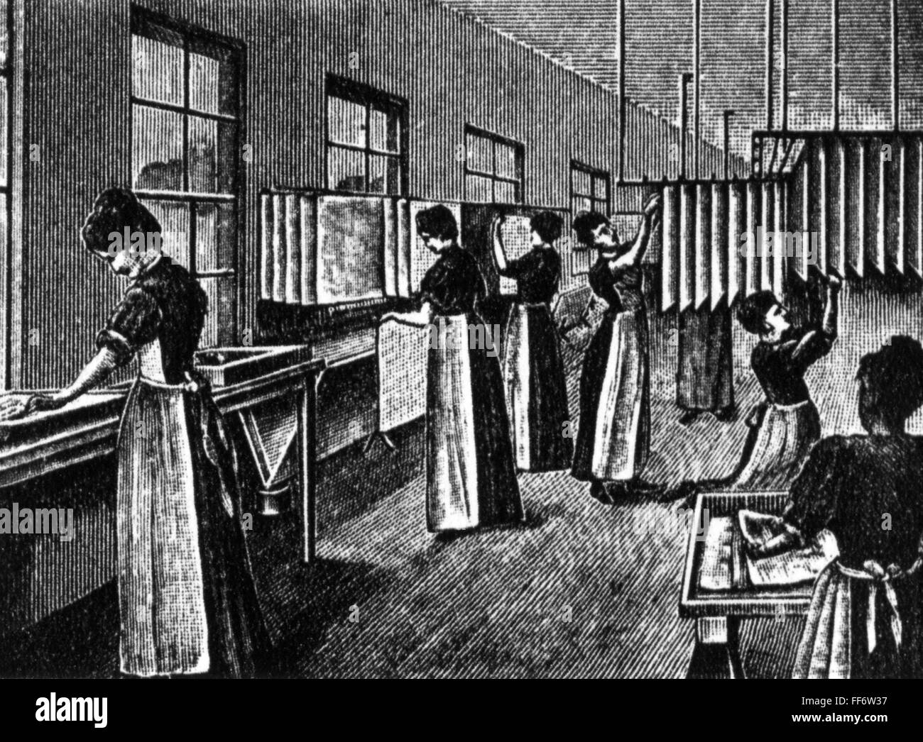 Manufacture of photographic paper, 19th century - Stock Image