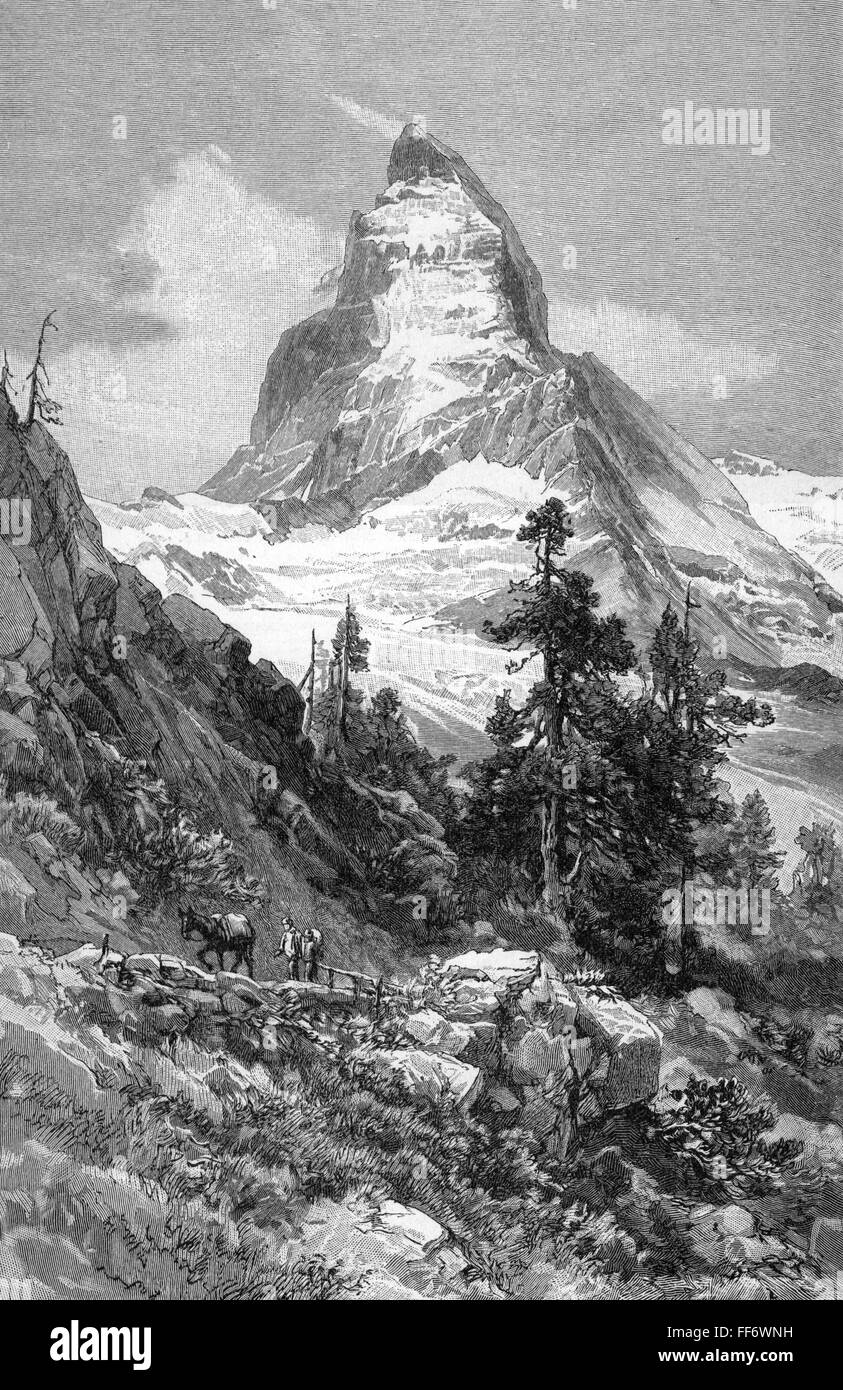geography / travel, Switzerland, mounts, Matterhorn, view from northeast, wood engraving after drawing by E. C. - Stock Image