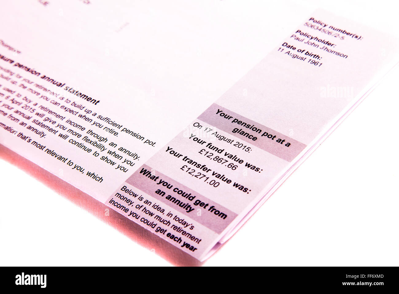 Pension statement pot transfer value fund letter amount cutout cut out white background isolated - Stock Image
