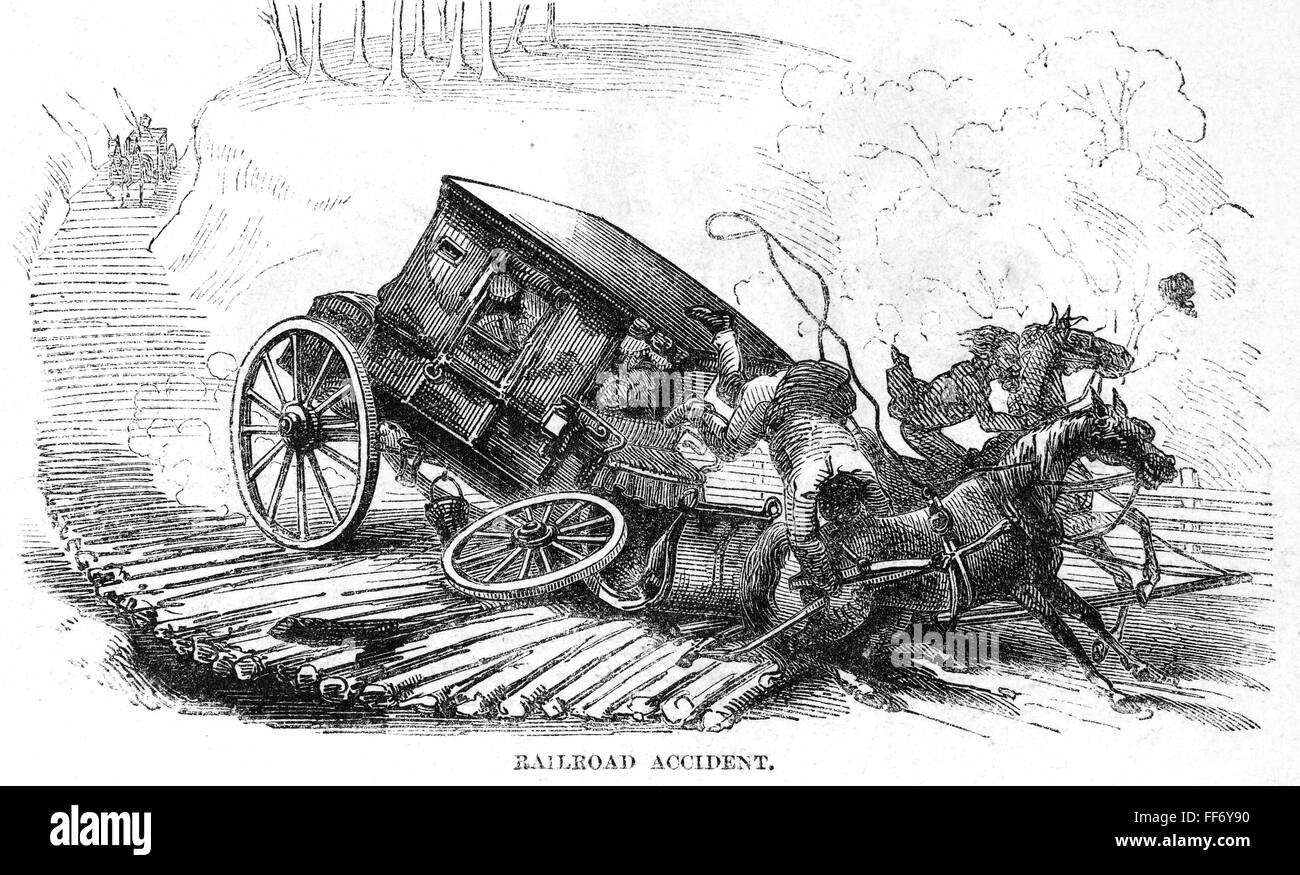 STAGECOACH ACCIDENT, 1856. /nA mishap on a corduroy road near Stock ...