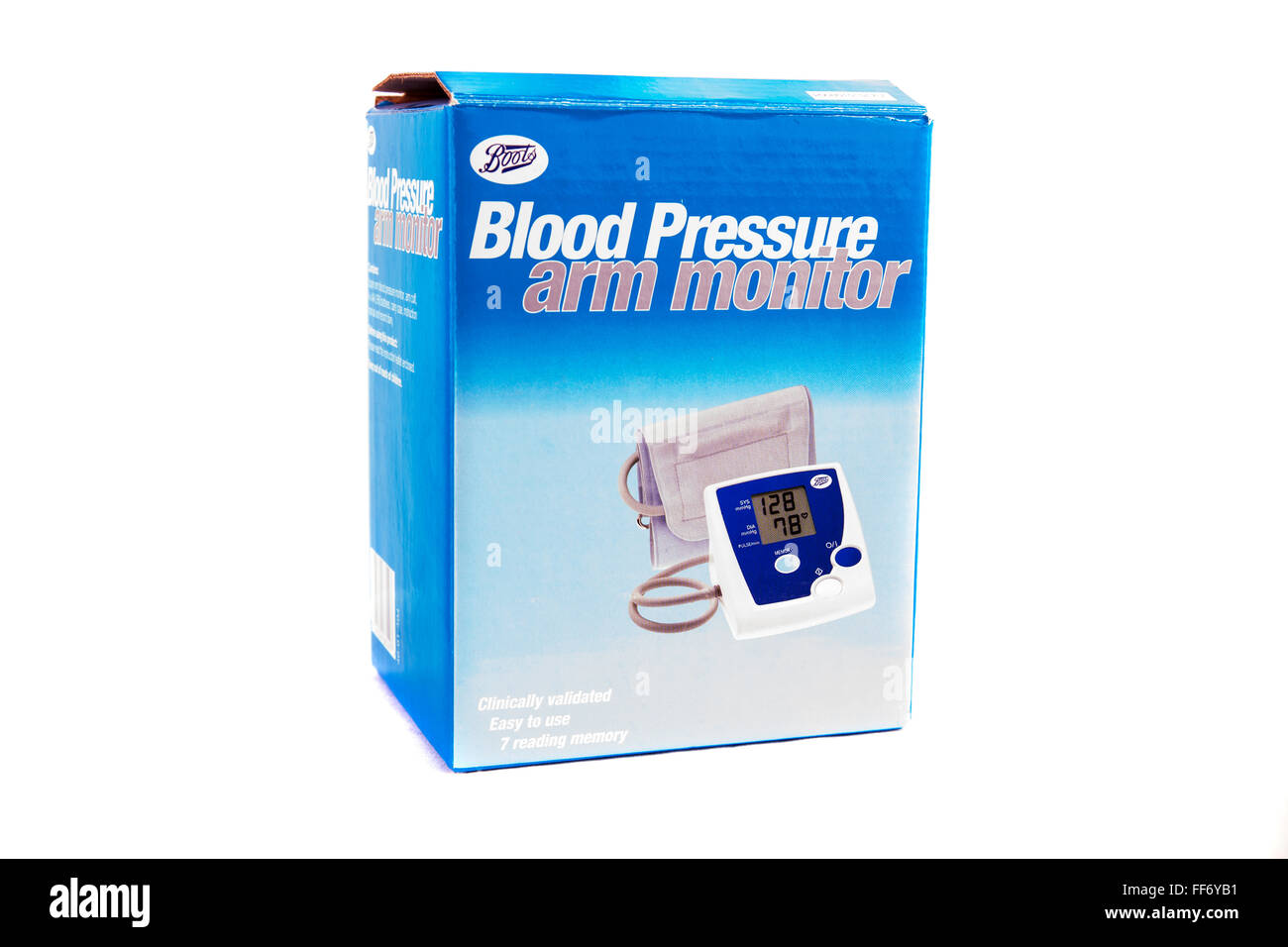 Blood pressure arm monitor machine box for home use cutout cut out white background isolated - Stock Image