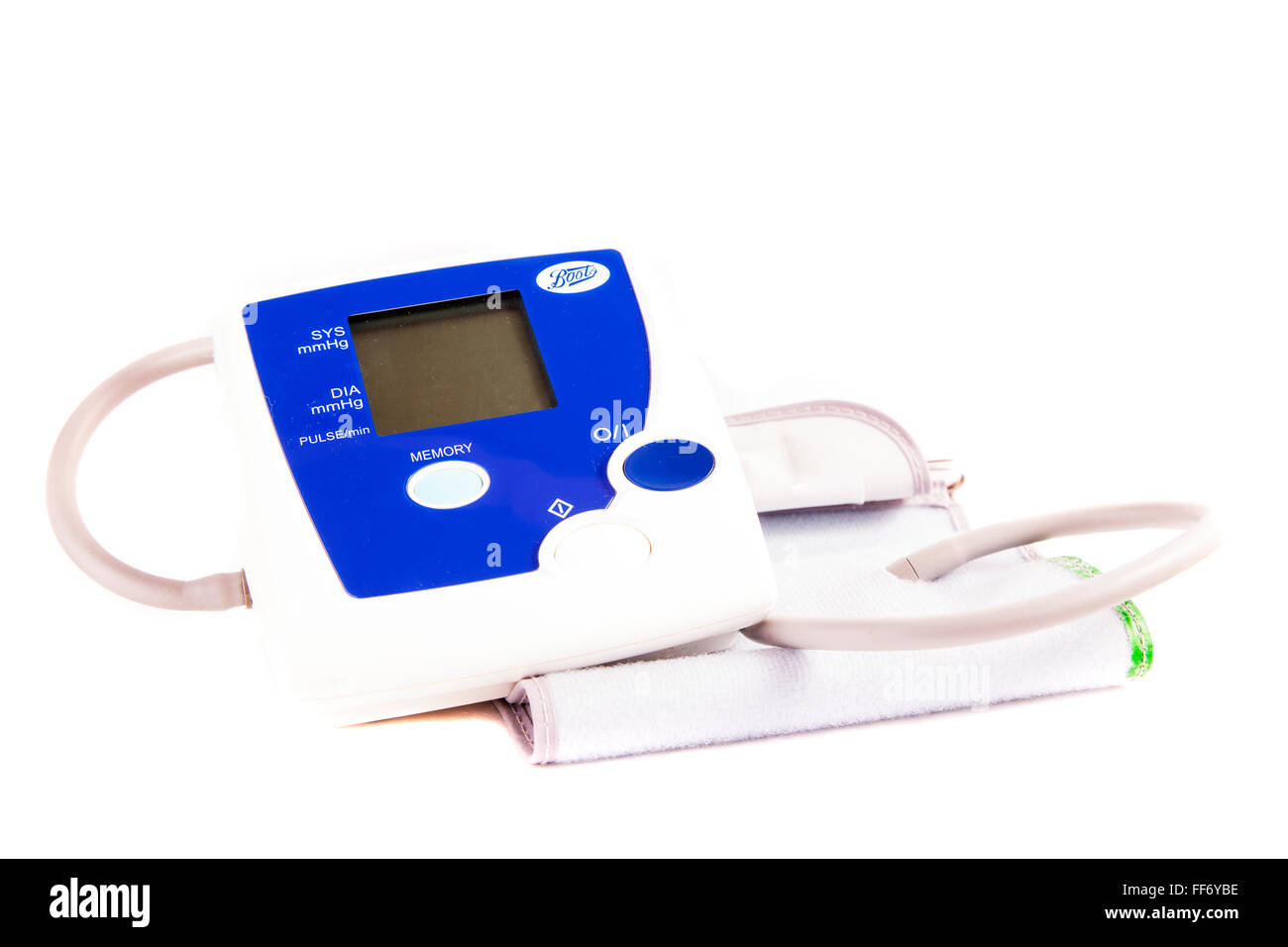 Blood pressure arm monitor machine for home health check use cutout cut out white background isolated - Stock Image