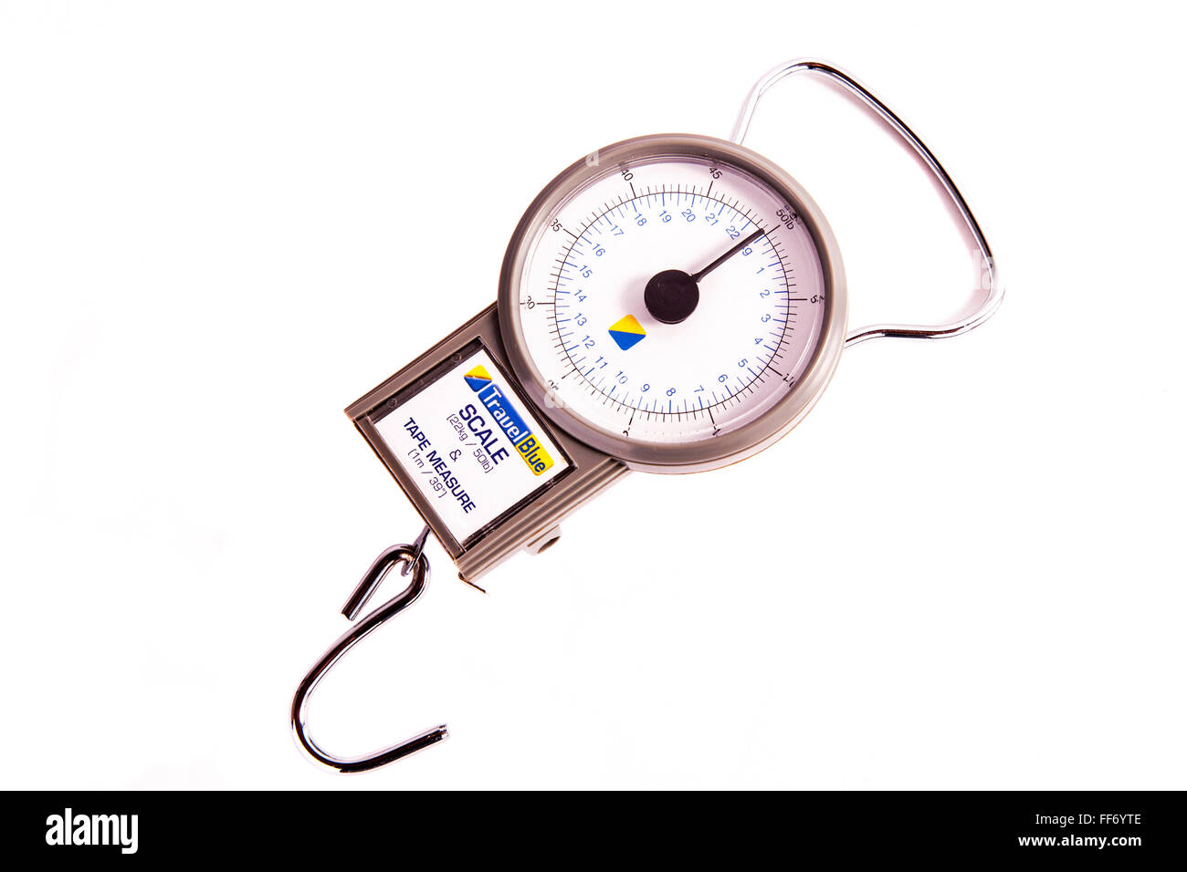 Scales scale weighing luggage before holiday holidays tape measure for case size cutout cut out white background - Stock Image