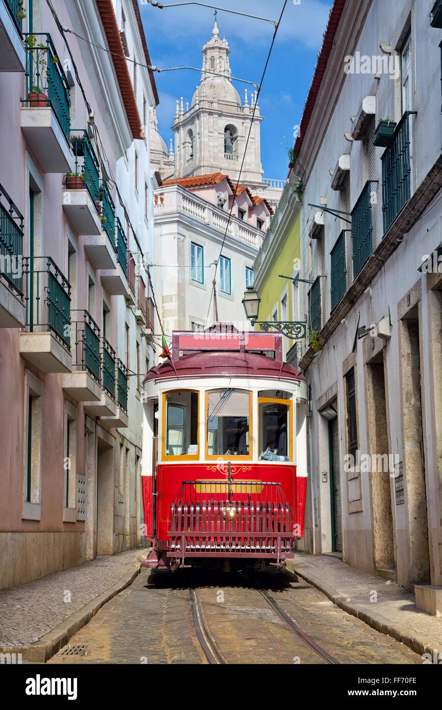 Lisbon. Image of street of Lisbon, Portugal with historical tram. - Stock Image