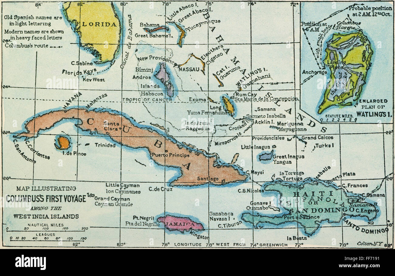 COLUMBUS: WEST INS MAP. /nMap, 1892, illustrating ... on james cook route map, magellan route map, world map, henry hudson route map, vespucci route map, de soto route map, juan de la cosa route map, hispaniola route map, estevanico route map, pedro cabral route map, columbus exploration map, columbus trade map, columbus travel route map, juan rodríguez cabrillo route map, mt. shasta route map, africa route map, old panama canal map, vasco da gama route map, henry the navigator route map, triangular trade worksheet color map,