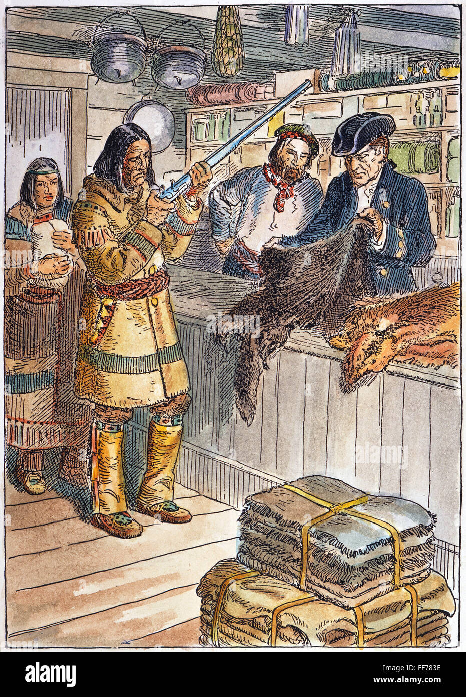 /nA Native American trading fur for guns at a frontier trading post, 1785.  Drawing by C.W. Jefferys.