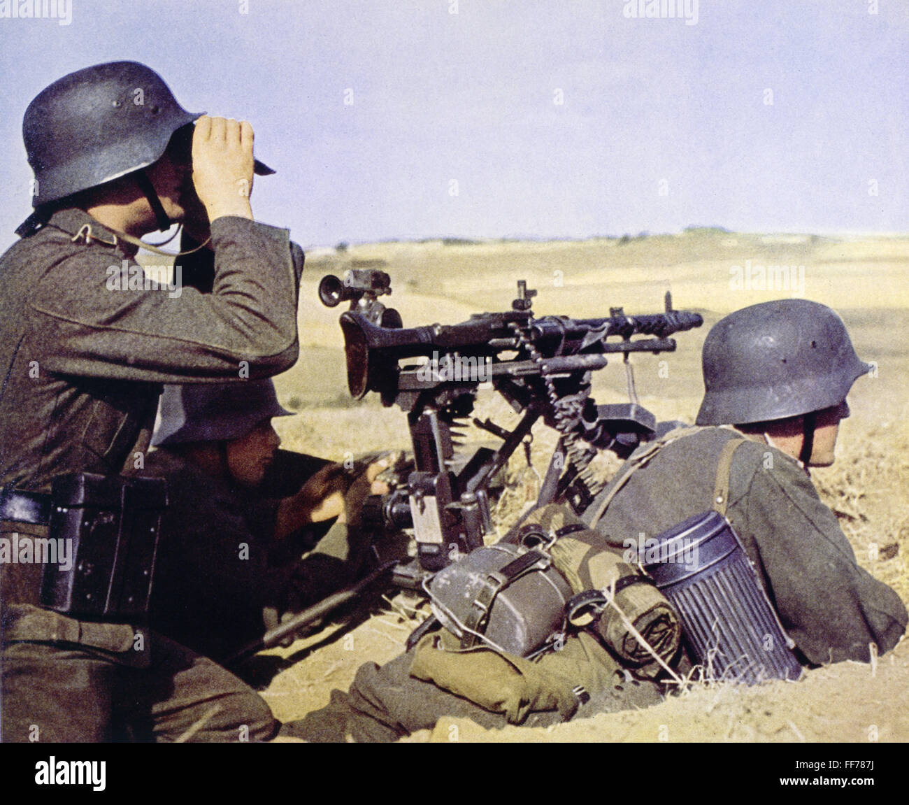 events, Second World War / WWII, German Wehrmacht, heavy machinegun MG 34 in firing position, circa 1940, Additional - Stock Image