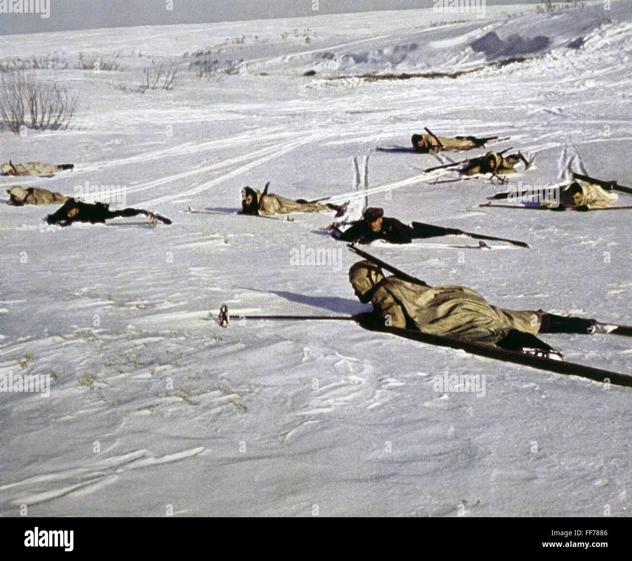 events, Second World War / WWII, German Wehrmacht, ski troopers, reconnaissance patrol, circa 1941, Additional-Rights - Stock Image