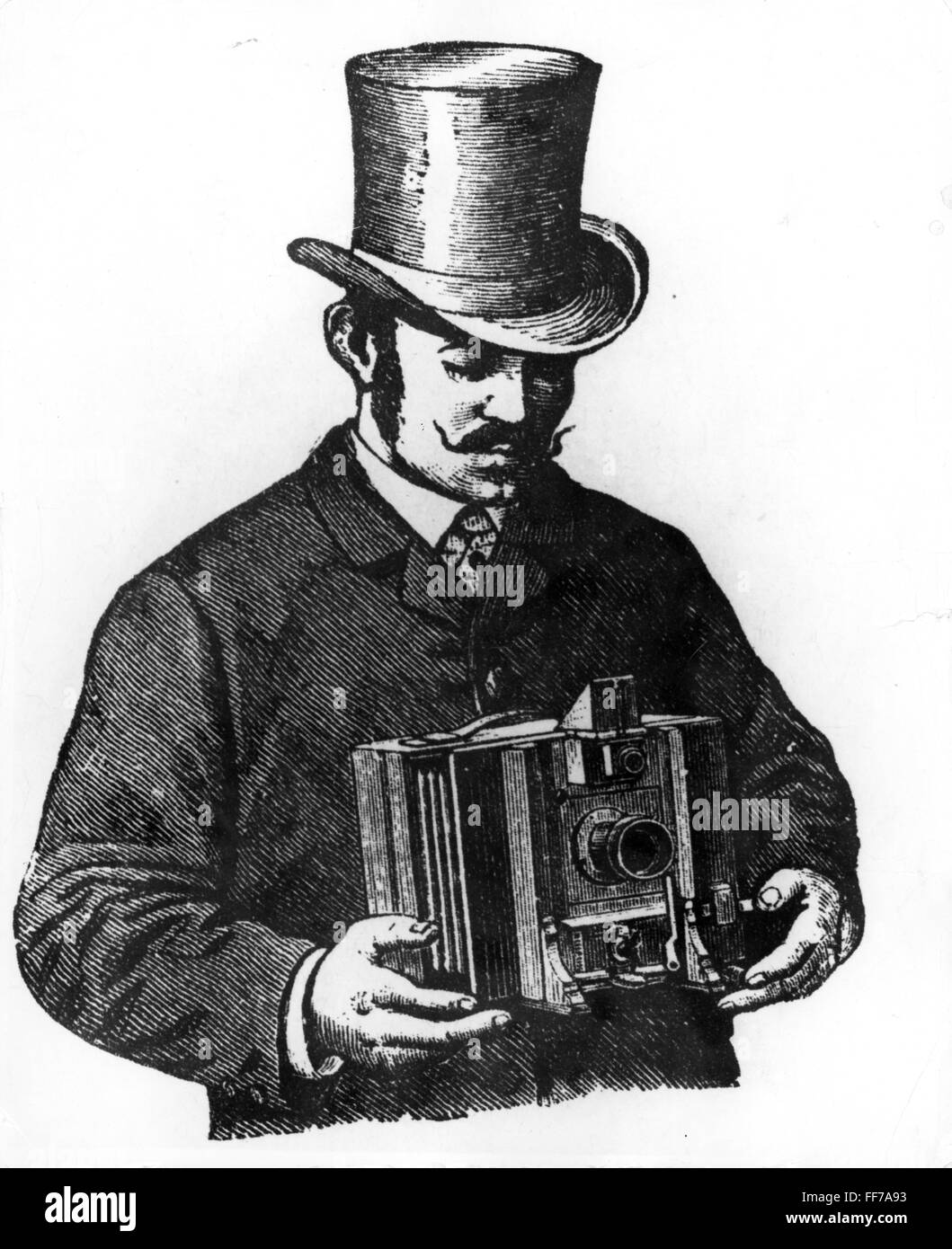 photography, cameras, handling of the Universal-Detektiv-Kamera by R.A. Goldmann, Vienna, drawing, 1890, Additional - Stock Image