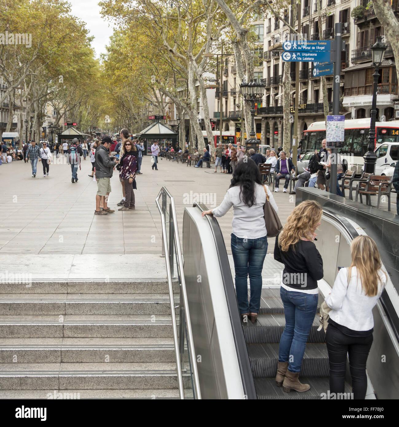 Metro station entrance on Las Ramblas, Barcelona, Spain - Stock Image