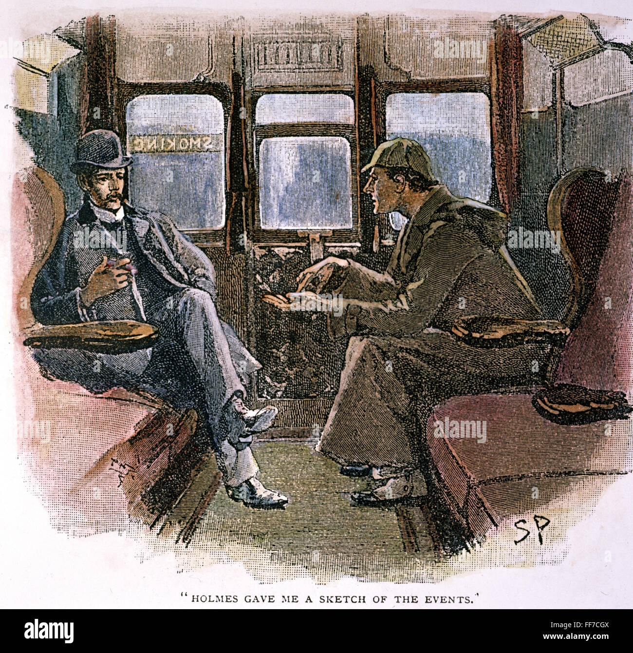 SHERLOCK HOLMES /nand Dr. John Watson in a corner of a first-class carriage  from Paddington Station. Drawing by Sidney Paget for Arthur Conan Doyle's  'The ...