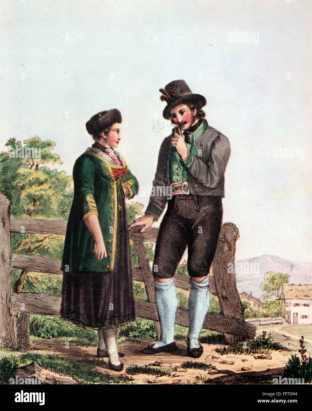 Peasant girl and swain in Bavarian traditiobal costumes 19th century  sc 1 st  Alamy & Peasant girl and swain in Bavarian traditiobal costumes 19th ...
