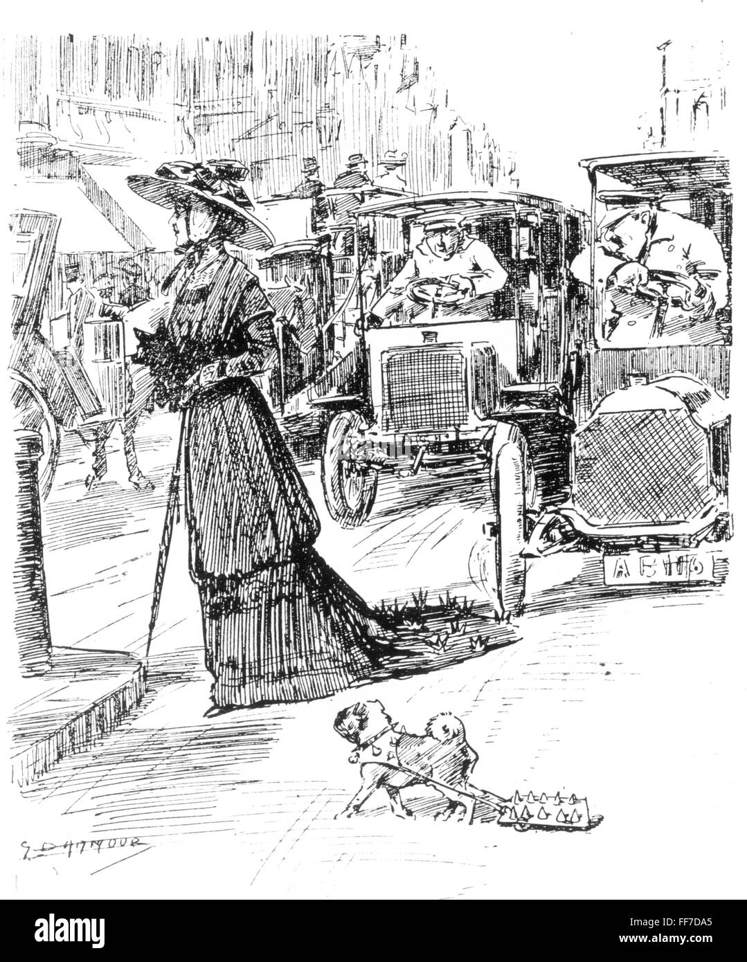fashion, early 20th century / turn of the century, fashionably dressed lady with train crossing street, drawing, - Stock Image