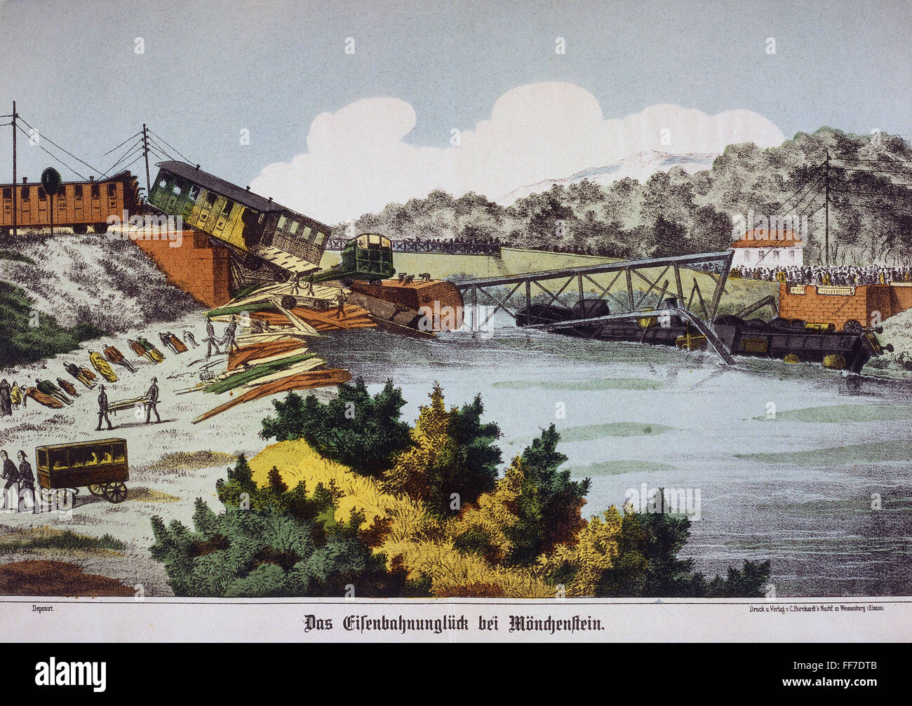transport / transportation, railway, disasters, collapse of the railroad bridge near Muenchenstein, Canton Basel, - Stock Image