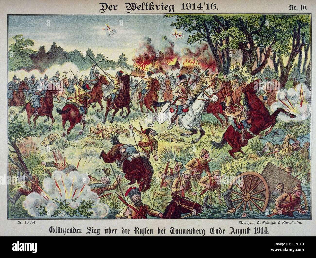 events, First World War / WWI, Eastern Front, Battle of Tannenberg 1914, Russian troops retreating, coloured lithograph, - Stock Image