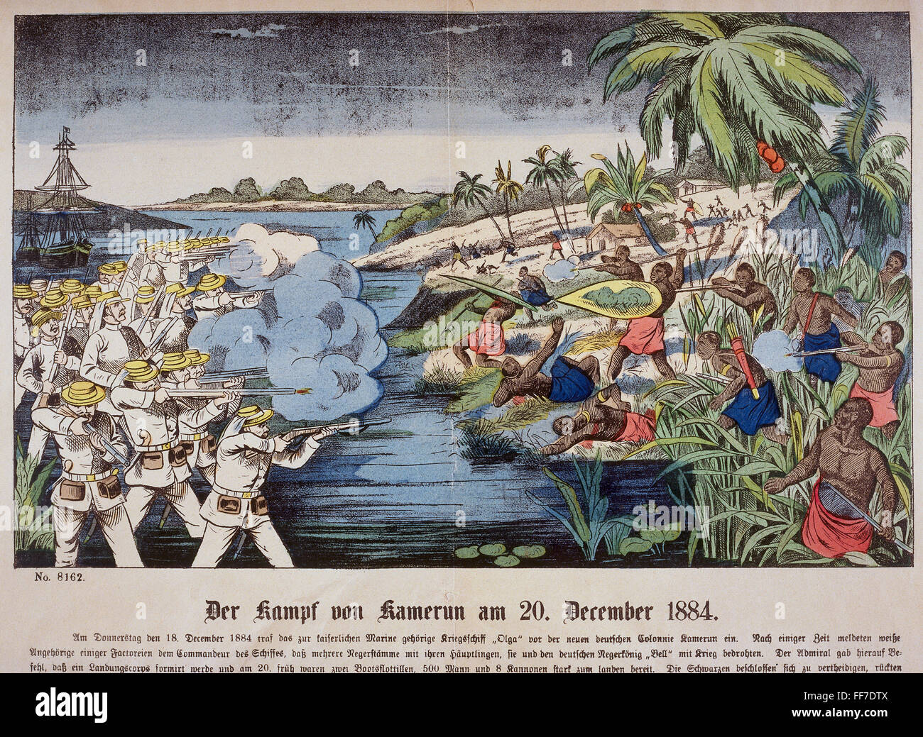 colonialism, fight between German navy soldiers and natives, Cameroon, 20.12.1884, Additional-Rights-Clearences - Stock Image