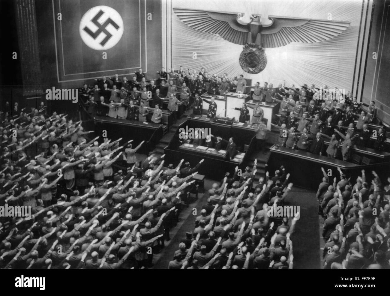 Nazism / National Socialism, politics, government, session of the Reichstag on the occasion of Hitler's statement - Stock Image