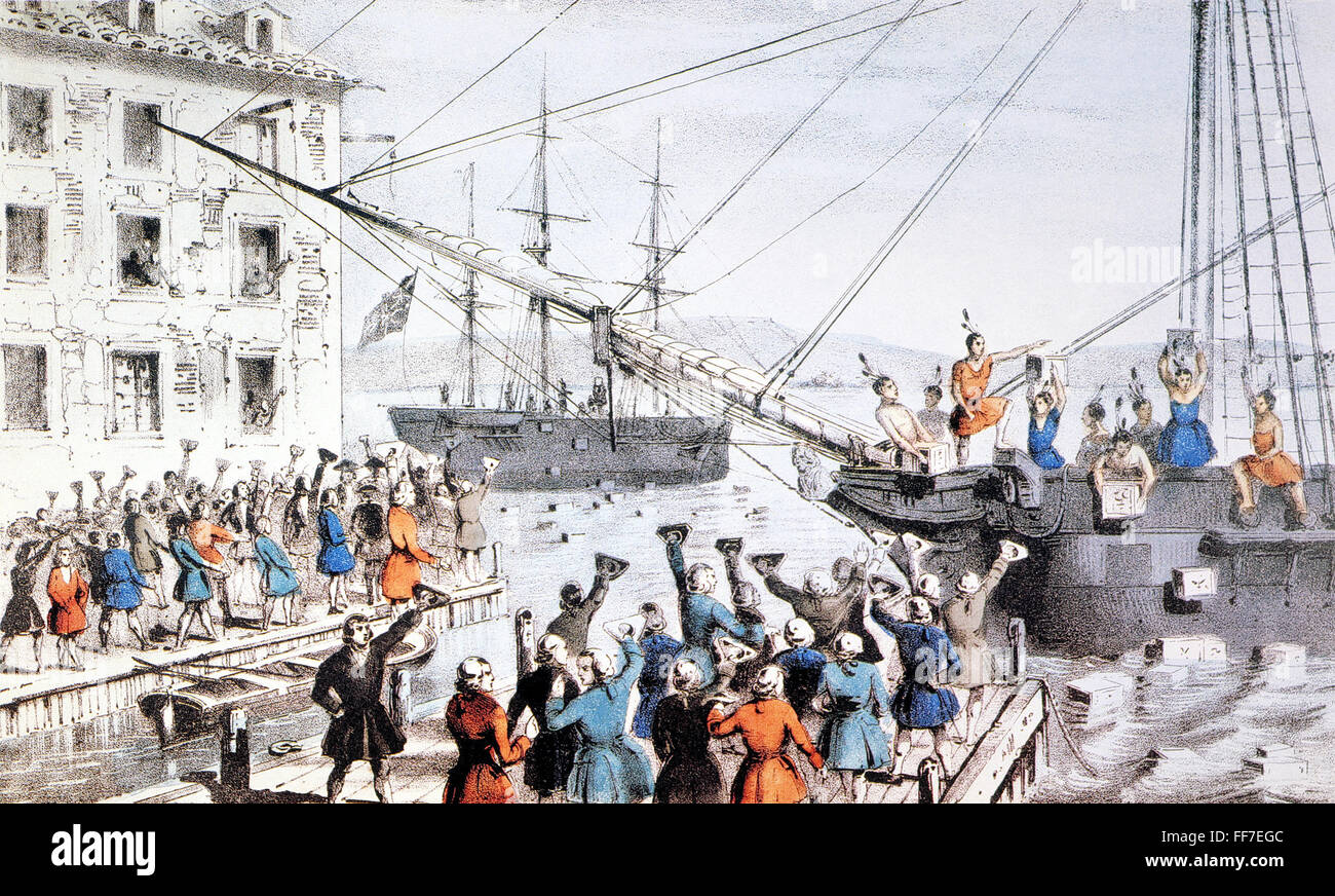 nBoston Tea Party, December 16, 1773. Lithograph, 1846, by Nathaniel  Currier.