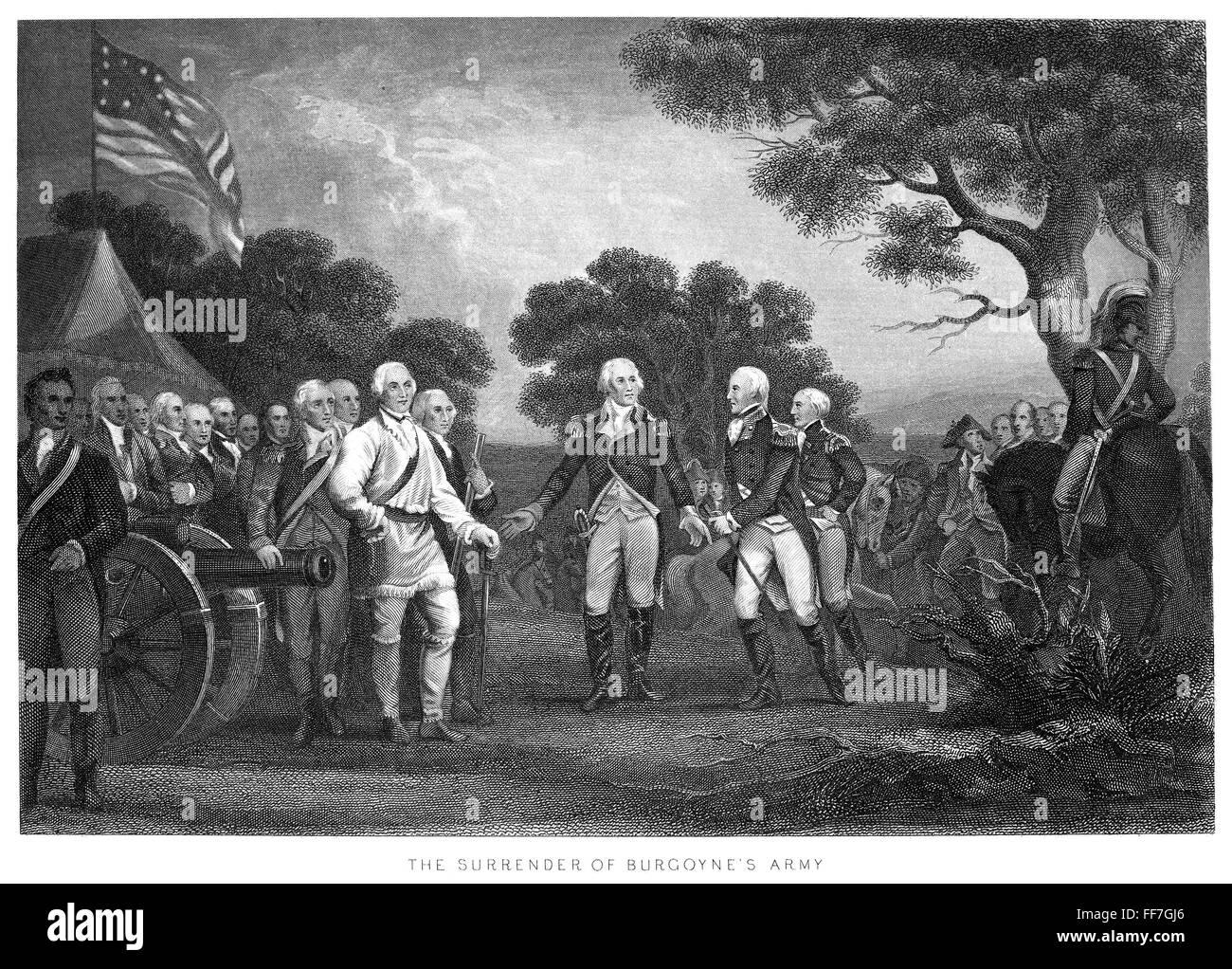 SURRENDER OF BURGOYNE AT SARATOGA GENERAL GATES SWORD AMERICAN CONTINENTAL ARMY