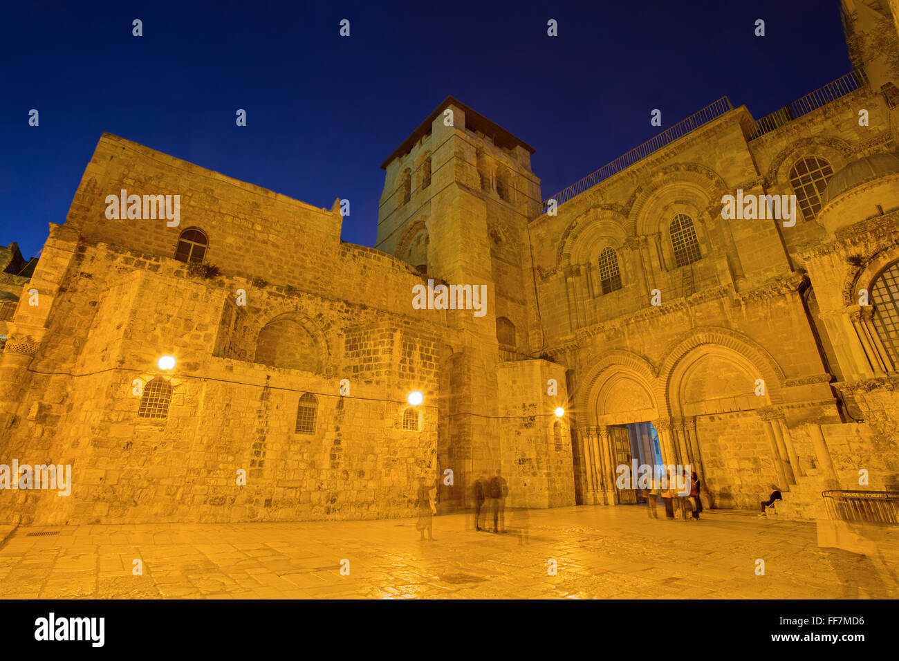 Jerusalem - Church of the Holy Sepulchre at dusk - Stock Image