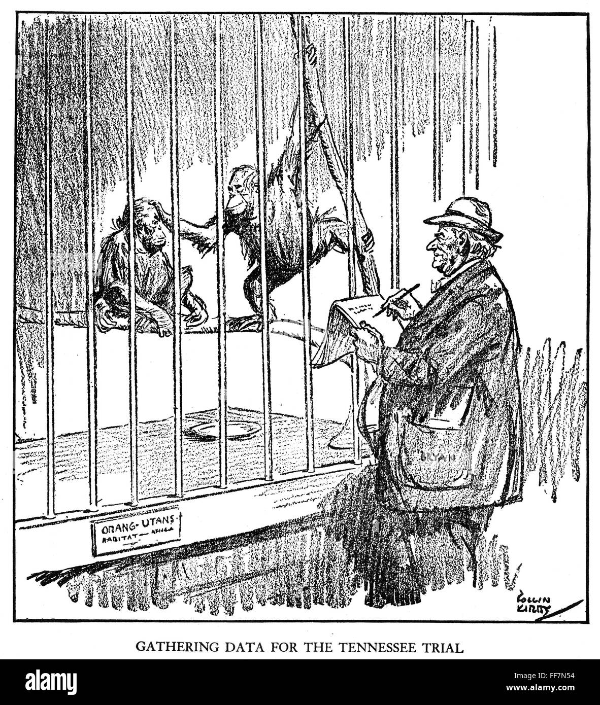 Scopes Trial Cartoon 1925 N Gathering Data For The Tennessee