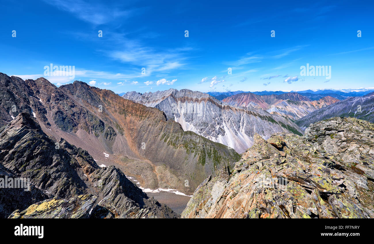 Mountain ranges of Eastern Siberia . Tunka range. Buryatia - Stock Image