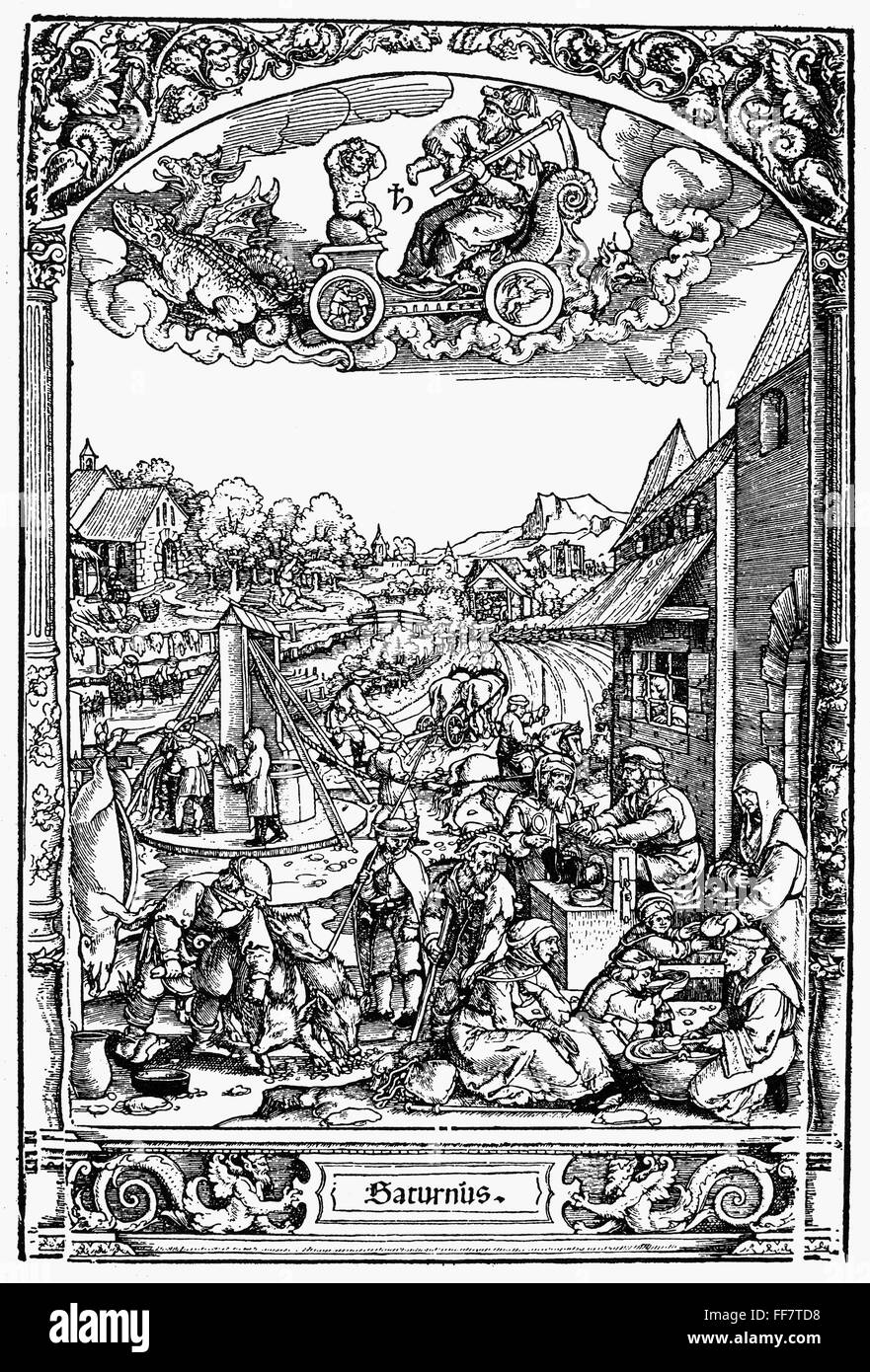 /nAllegoric representation of the Life of the Children of the planet Saturn.  Woodcut, German, 16th century.