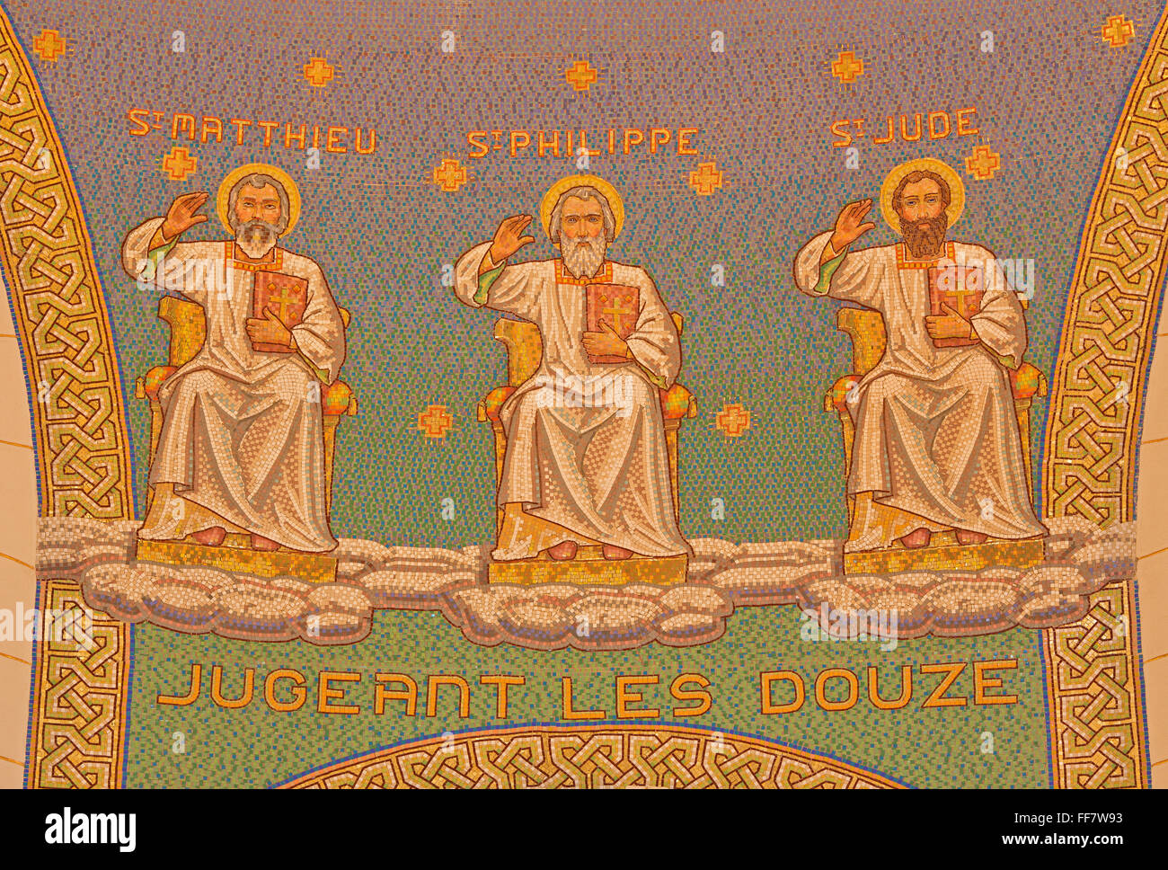 JERUSALEM, ISRAEL - MARCH 3, 2015: The mosaic of apostles in Church of St. Peter in Gallicantu. Stock Photo