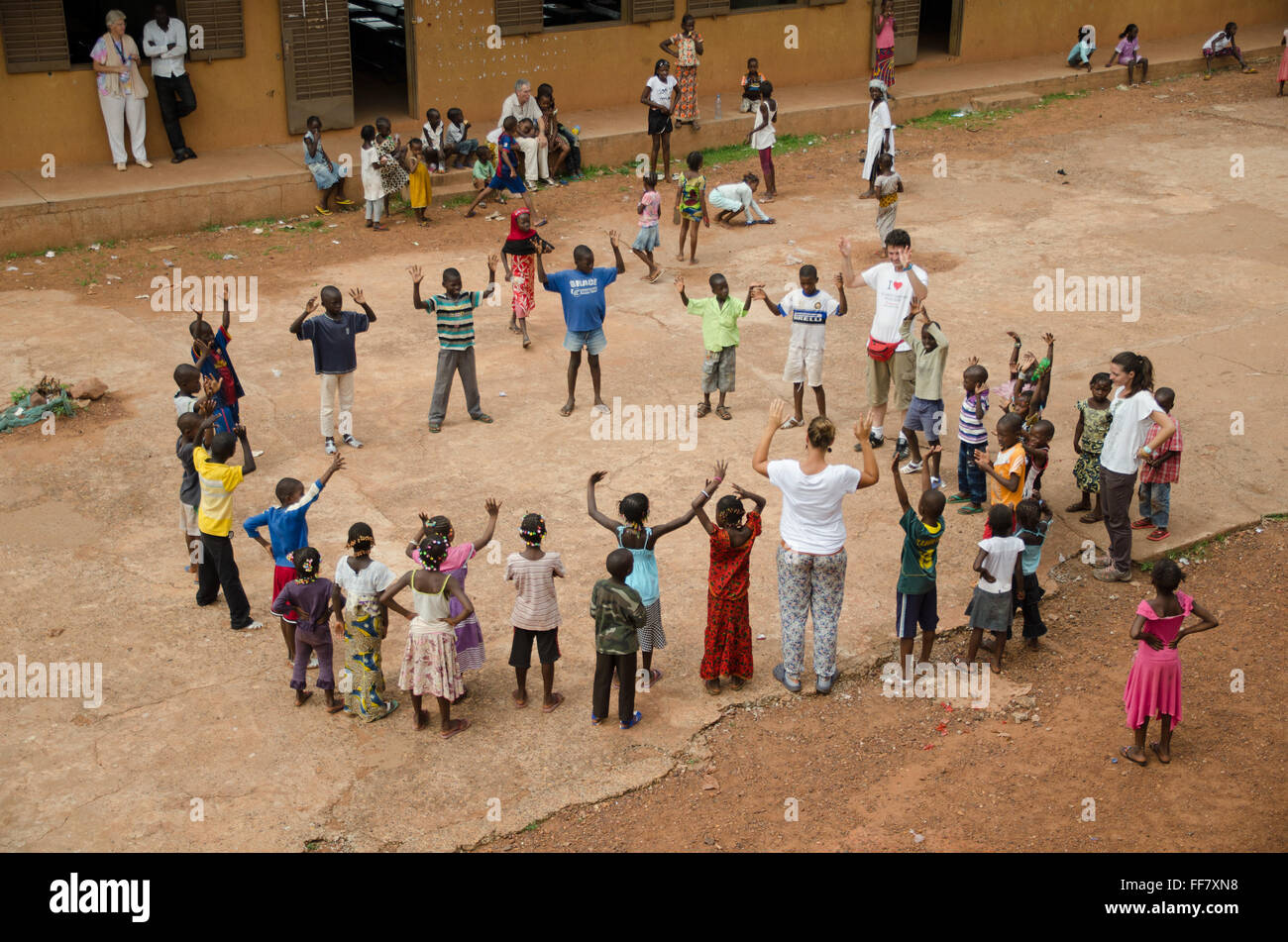 Mali, Africa - Group of black children having fun in a circle in Africa Stock Photo