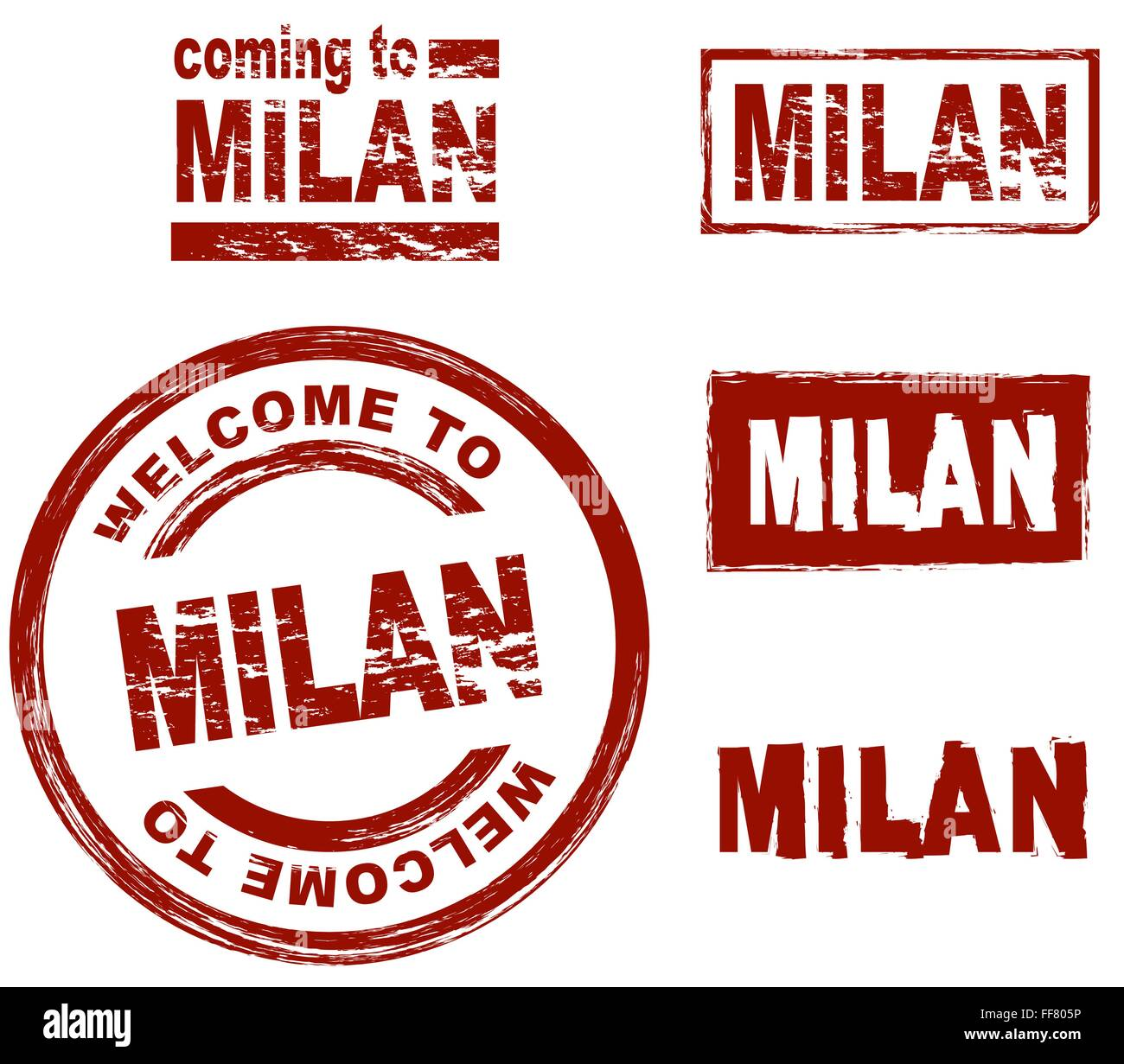 Set of stylized ink stamps showing the city of Milan - Stock Vector