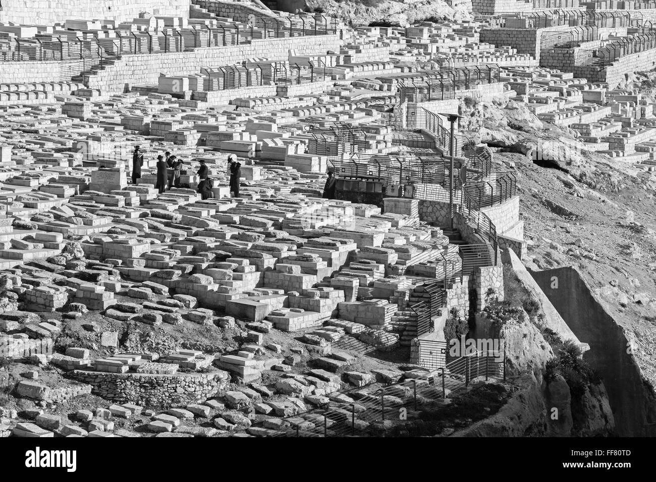 JERUSALEM, ISRAEL - MARCH 3, 2015:  The jewish cemetery on the Mount of Olives and burial of orthodox Jews. - Stock Image