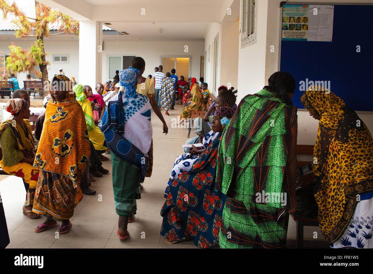 A busy Out Patient Department (OPD) at St. Francis Hospital, Ifakara, Tanzania. - Stock Image