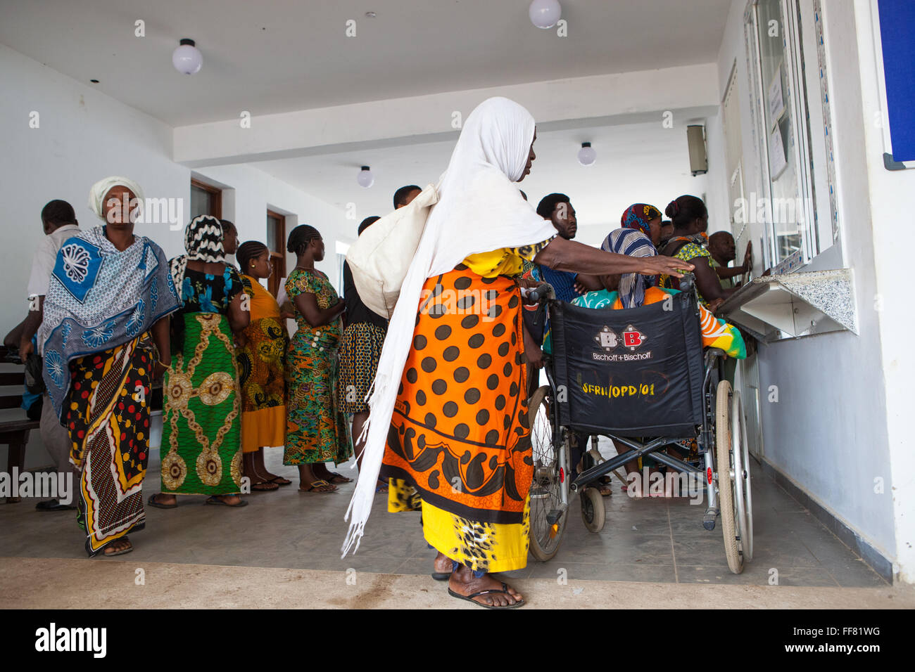 Patients arriving at the reception area of OPD in St. Francis Hospital, Ifakara, Tanzania - Stock Image